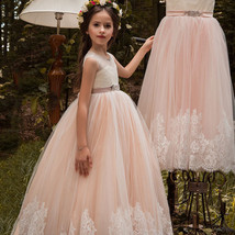 Newly A Line Lace Flower Girl Dresses Appliqued Kids Party Gowns With Belt 2019 image 2
