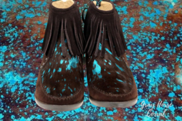 COFFEE & TURQUOISE ACID WASH GENUINE COWHIDE ANKLE BOOT WITH FRINGE  - $59.99