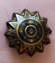 Antique Victorian Pique Pin, Tortoise Shell Inlaid with Gold  - $245.00