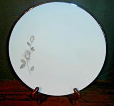 """10.5"""" Plate Kenmark Fine China Boutique Japan #6892 Pink Grey Rosebuds D... - $9.74"""
