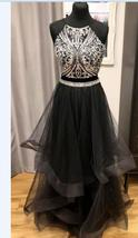 Sexy A Line Crystal Two Pieces Black Tulle Long Prom Dress Formal Evenin... - $153.88