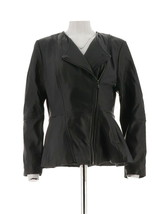 Isaac Mizrahi Lamb Leather Peplum Motorcycle Jacket Pckts Black 10 NEW A... - $55.03