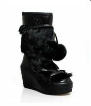 ASH Platform Rabbit Fur Wedge Boots US SZ 7.5 - $346.50