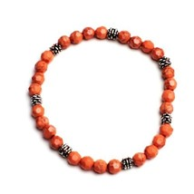 Handmade Beaded Stretch Bracelet Coral Pink Silver Handcrafted Jewelry Gift - $14.99