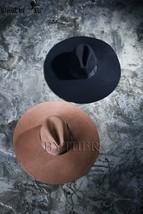 ByTheR Unisex Modern Chic Classic Style Floppy Wide Brim Wool Felt Fedora Hat image 2