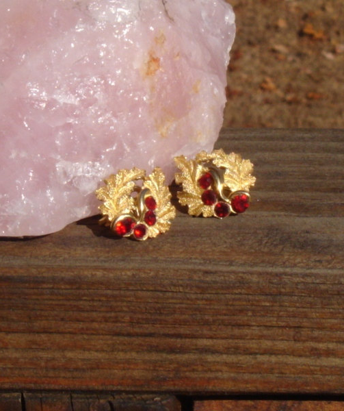 Vintage Crown Trifari© Oak Leaf Earrings, Alfred Philippe, Red Rhinestones