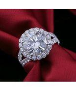 3.51CT Halo Split Shank Round Cut Diamond Engagement Ring 14K White Gold... - $79.79