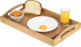 Serving tray bamboo - wooden tray with handles - Great for dinner trays,... - £13.42 GBP
