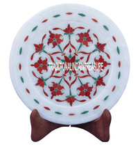 "7"" White Marble Round Plate Carnelian Inlay Mosaic Floral Work Decor Art Gifts - $63.61"