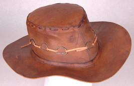 Vtg Leather Cowboy Hat-Band w Metal Rings-Western-Ranch-Tassle-Brown-Siz... - $46.74