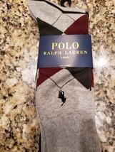 Polo Ralph Lauren Logo Men's GRAY/OLIVE/BURGUNDY Argyle Dress Socks 3 Pairs Nwt - $11.04