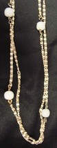"""Strand White Beads 54"""" Necklace Vintage Costume Fashion Gold Plated Chain - $16.63"""