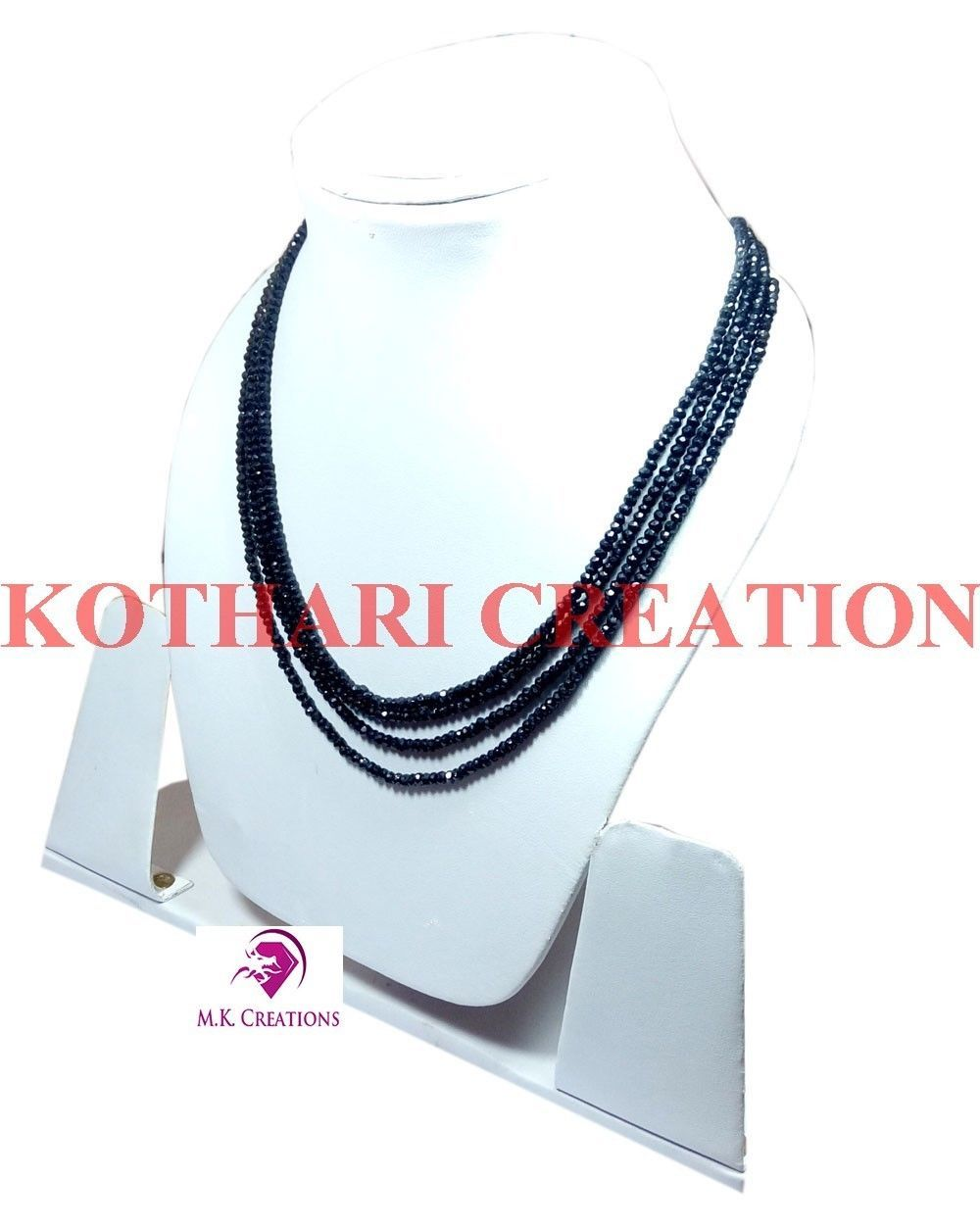 """2-3mm Natural Black Spinel Faceted Beads 32"""" 4 strand Multi Layer Necklace"""