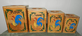 NEAT OLD VINTAGE WOOD ROOSTER CANISTER SET! CHICKENS KITCHEN - $39.84