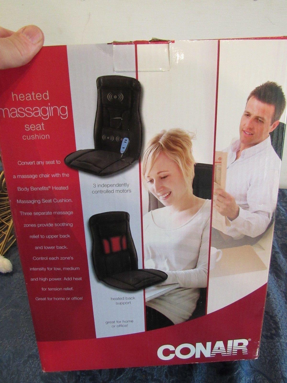 Conair Electric Massage Chair Pad Seat Heat Office Cushion Back Neck Vibration