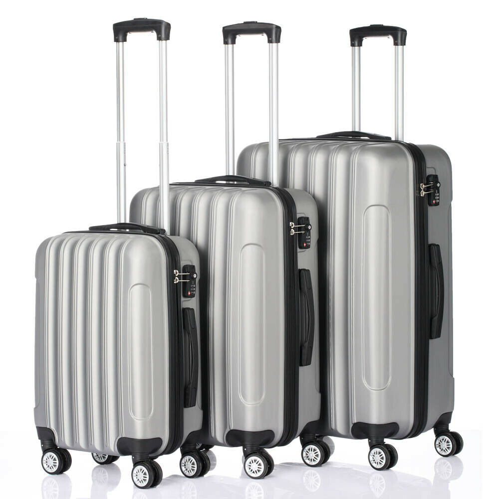 Primary image for Suitcase 3pcs Large Capacity Traveling Storage Plastic Metal Silver &Gray