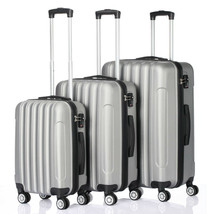 Suitcase 3pcs Large Capacity Traveling Storage Plastic Metal Silver &Gray - $107.76