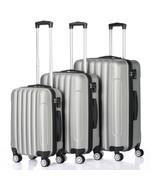 Suitcase 3pcs Large Capacity Traveling Storage Plastic Metal Silver &Gray - $107.76
