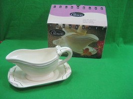 Celebrate Every Day Gibson Housewares Gravy Boat & Saucer Gold Trim Bow ... - $13.98