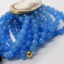 925 STERLING SILVER BRACELET BEAUTIFUL BIG LADY FLOWER CAMEO & BLUE JADE, ITALY image 6
