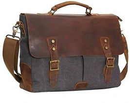 WOWBOX 15.6 Inch Messenger Bag For Mens Vintage Canvas Leather Laptop Messenger - $125.65