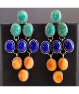 Turquoise Lapis Spiny Shell XLG Post Earrings by Apache Indian Rosella S... - $479.00