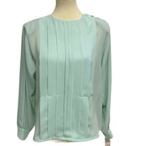 Shapely women's vintage blouse long sleeve green size 10 - $23.75