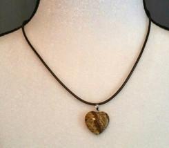 Natural, Healing Stone Picture Jasper Necklace Heart Shaped, Men Women - $7.91