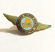 "Vintage Rhode Island Pilots Association Wings Lapel Pin Tie Tack 1 1/2"" ... - $18.62"