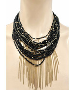 Gold Tone Black Glass Seed Beads Multilayered Multistrand Statement Necklace - $15.39
