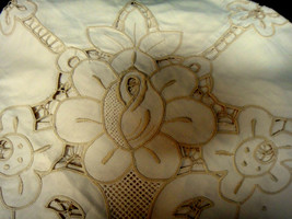 """TABLECLOTH & NAPKINS (8)  Ecru Embroidered Cut-Work 68"""" x 68"""" Cotton NEW - $39.20"""