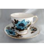 Vintage QUEEN ANNE Bone China (England) Blue Floral Tea Cup & Saucer Set - $19.50