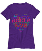 Graphic Tees For Women | Love Words in Colorful Heart Word Cloud T-shirt | Gifts - $18.00