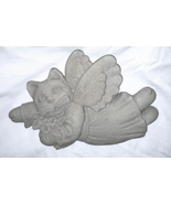 "Carruth Cat Angel Cast Cement Wall Plaque 9"" Wide - $14.95"
