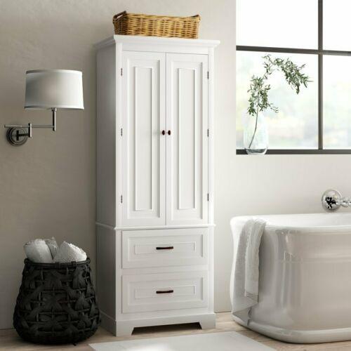 wonderful white bathroom linen storage cabinets | White Finish Linen Tower Bathroom Towel Storage Cabinet ...