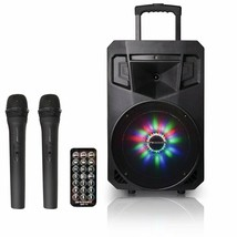 PA System w/ LED Party Lights Portable Bluetooth Audio Speaker with 2 Mics - $158.39