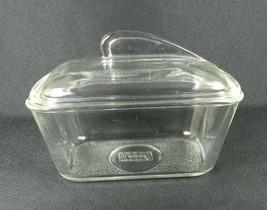 Vtg Glasbake Refrigerator Dish Loaf Pan Clear Glass Fin Lid J-805-10  1-... - $17.81