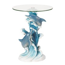 End Table Sculpture, Playful Dolphins Round Tempered Glass Top Table - $127.99
