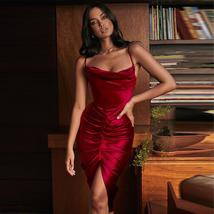 New Arrivals Sexy Wine Red Silky Spaghetti Strap Bodycon Night Club Party Dress image 3