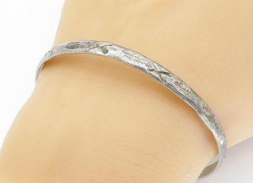 MEXICO 925 Silver - Vintage Antique Etched X Pattern Bangle Bracelet - B5797