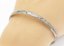 MEXICO 925 Silver - Vintage Antique Etched X Pattern Bangle Bracelet - B... - $35.62