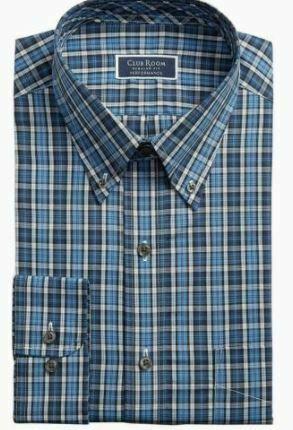 Club Room Men's Classic Fit Stretch Blckwatch Tartan Dress Shirt,Blue Plaid 16.5