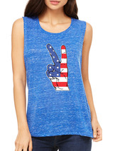 Women's Flowy Muscle Top American Flag Hand 4th Of July - $14.94+