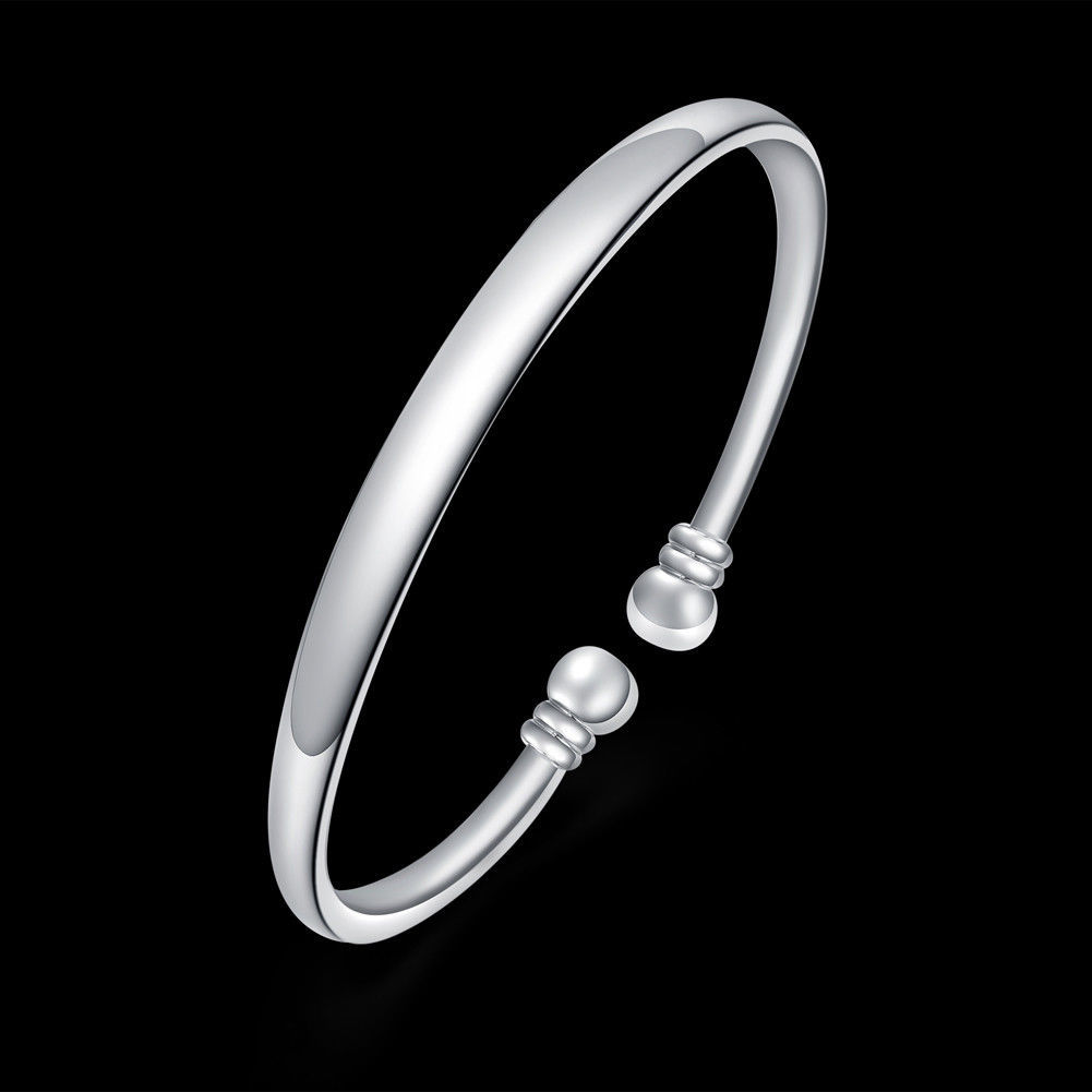 Womens Silver Bangle Fashion Charm Cuff Bracelet