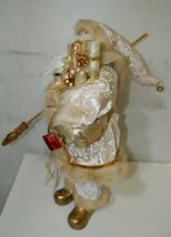 Sterling Brand Large Luxurious Ivory Santa Figurine Holding Gold Color Staff image 6