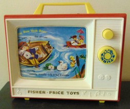 Fisher Price Giant Screen Music Box TV 2 songs 2 Stories 1966 Works Great EUC - $16.82
