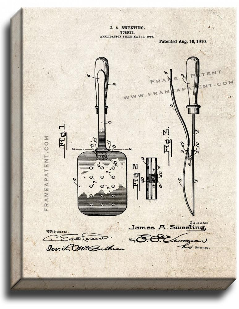 Primary image for Spatula Patent Print Old Look on Canvas