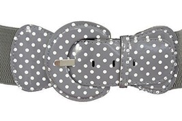 Women Trendy Stretch Waist Gray White Polka Dots Round Buckle Casual Plu... - $12.73