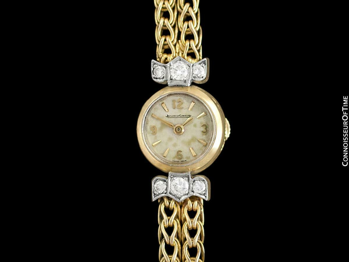 1950's JAEGER-LECOULTRE Vintage Ladies Backwind 18K Gold & Diamond Watch - Warra image 3