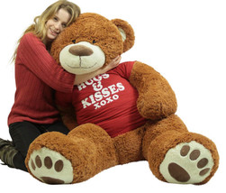 5 Foot Giant Brown Teddy Bear Wears Removable Tshirt that says Hugs and ... - $127.11